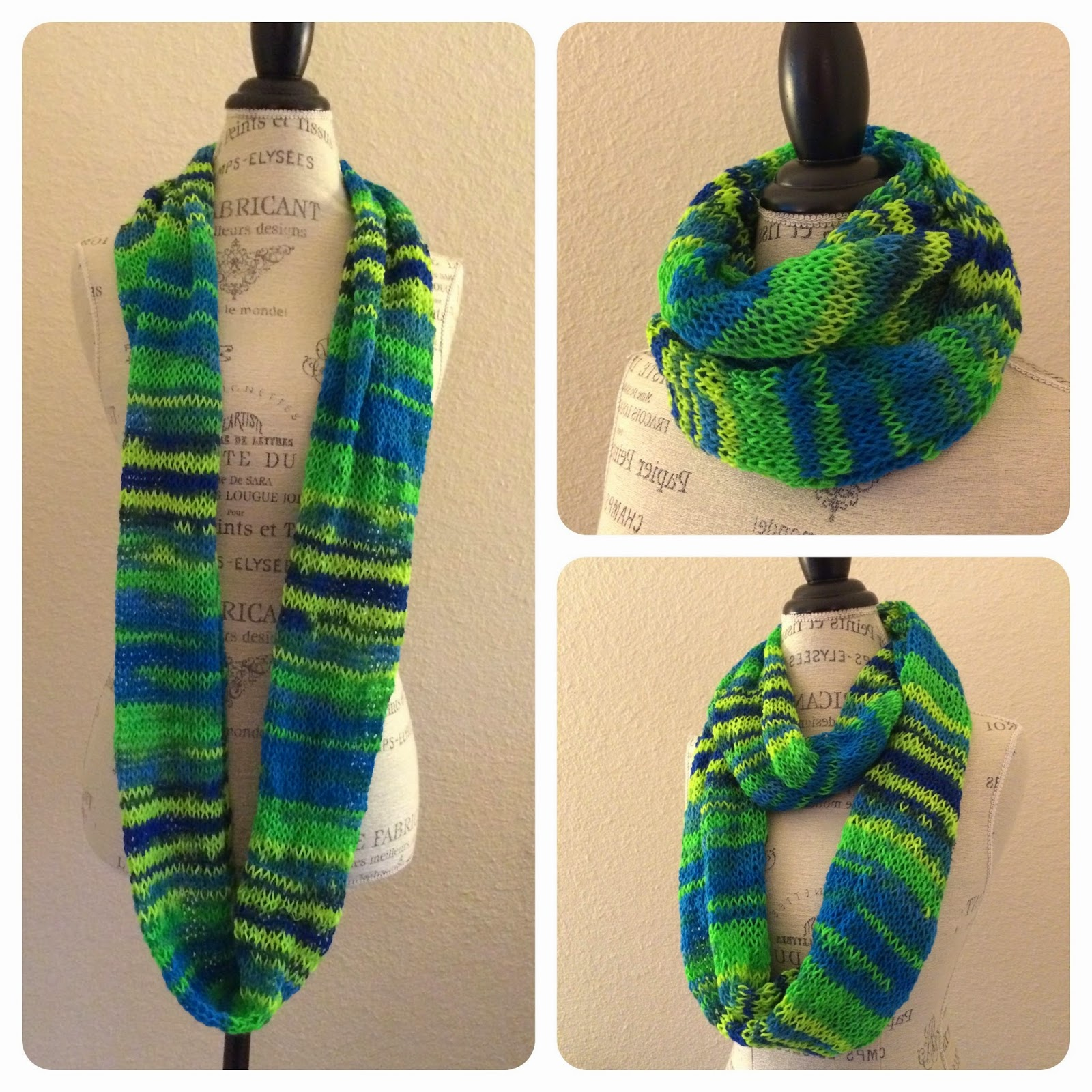 Knitted Scarf Patterns Using Sock Yarn : Neon Infinity Tube Scarf Free Knitting Pattern