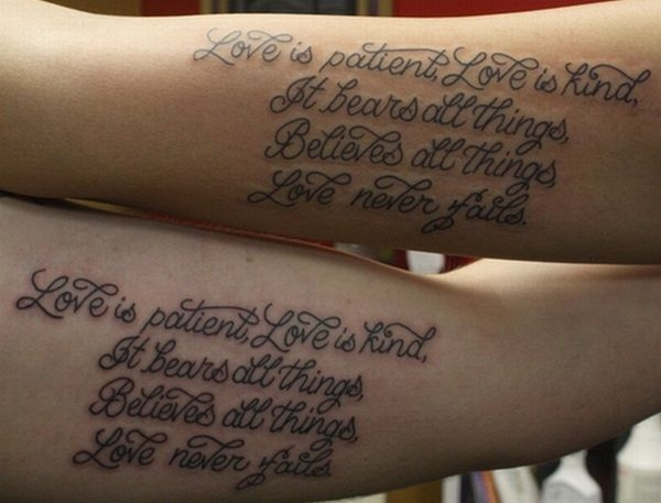 Writing tattoos on arm