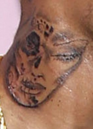 Xpress urself show chris brown revealed his neck tattoo for Chris brown neck tattoo rihanna face