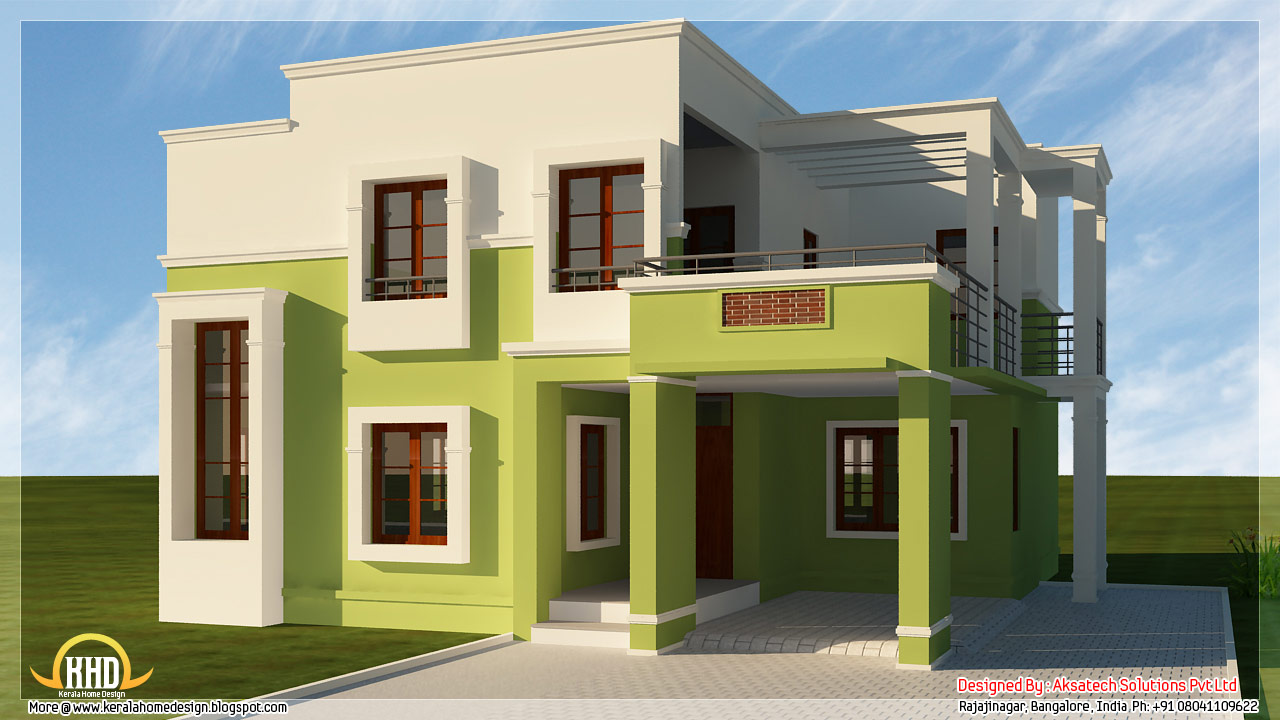 5 beautiful modern contemporary house 3d renderings for Modern kerala style house plans with photos