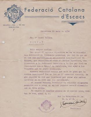 Subvención de 50 pesetas en 1934