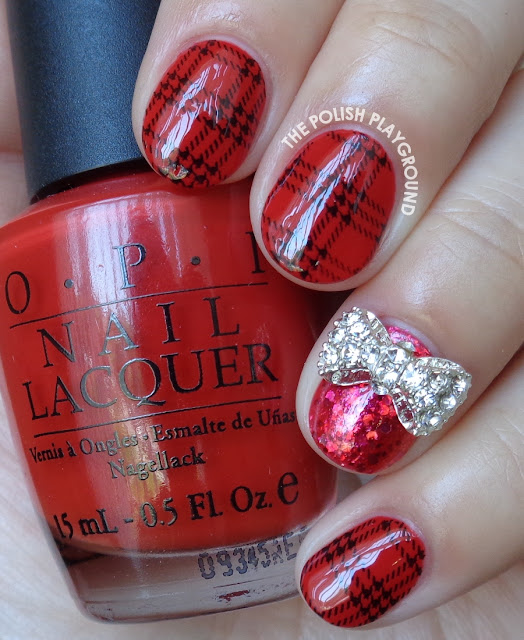 Red and Black Plaid Stamping Nail Art