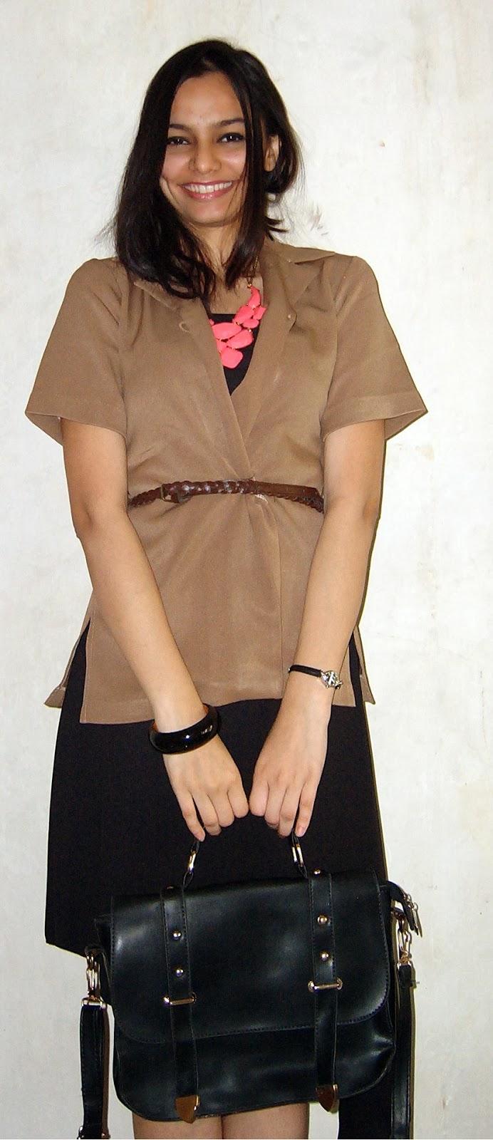 tan blazer, LBD, satchel bag, workwear, mumbai streetstyle