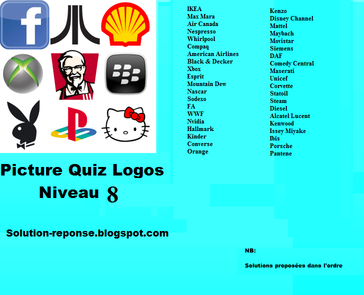 Picture Quiz logos solution niveau 8