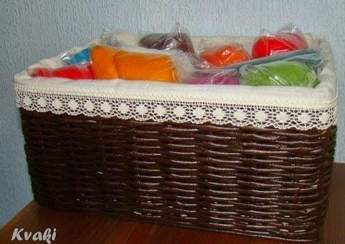 Красивая корзинка, плетенная из бумаги
