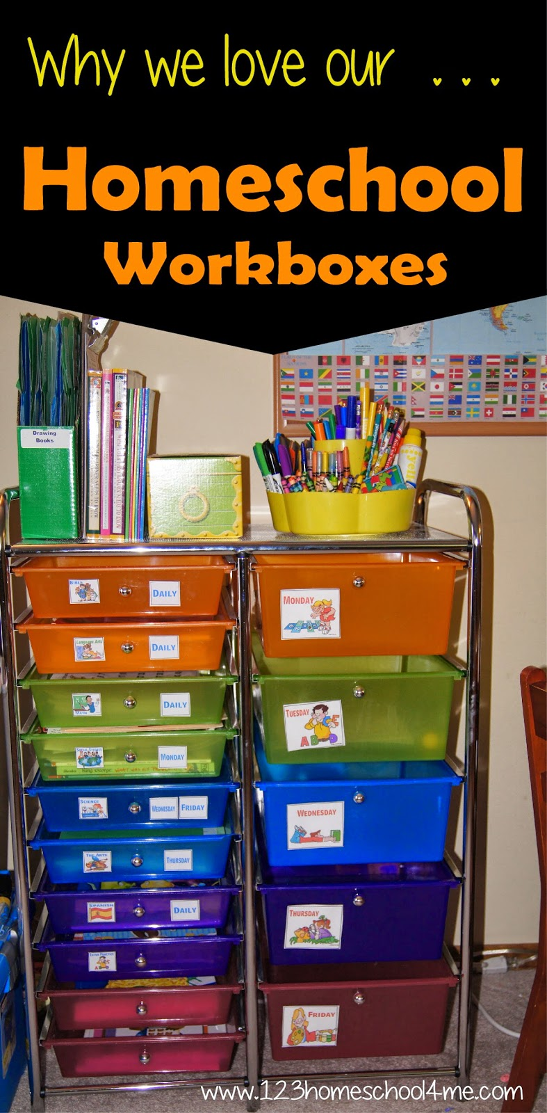 Workboxes are a great way to organized your homeschool.