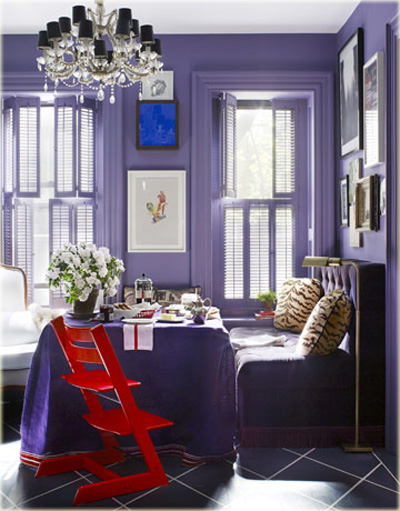 House Beautiful Small Spaces Captivating Of Purple Dining Room Image