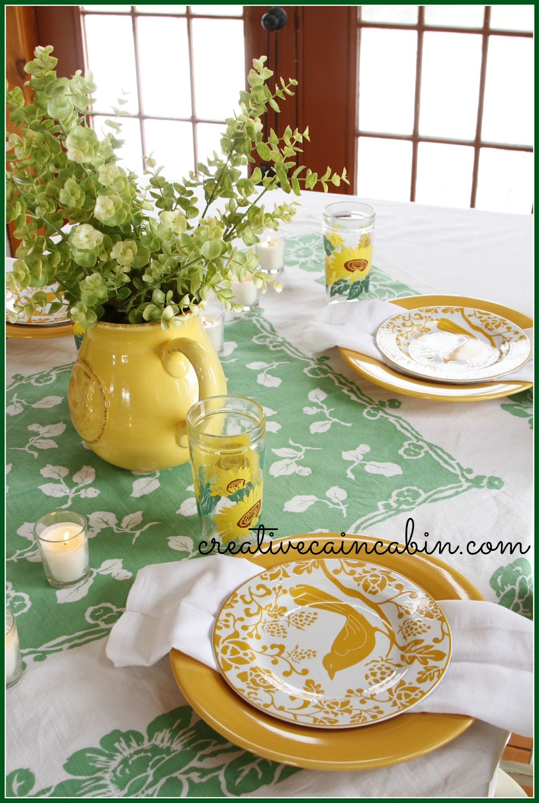 I looked around the house and found all the things that fit into the green and yellow theme I was going for and if I found it in a vintage item ...  sc 1 st  Creative Cain Cabin & St. Patrick\u0027s Day Table Setting - CREATIVE CAIN CABIN