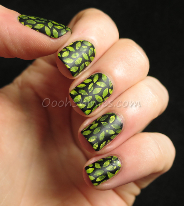 Various green acrylic paint with Konad Black, UberChic Beauty plate UC3-01 and BornPrettyStopre Super Matte
