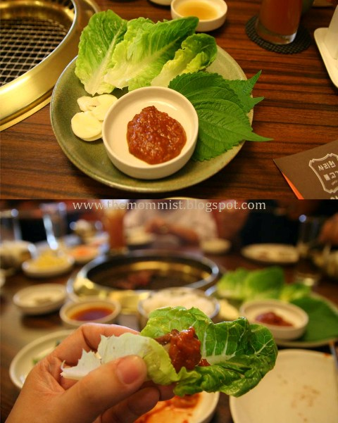 Lettuce and red pepper paste