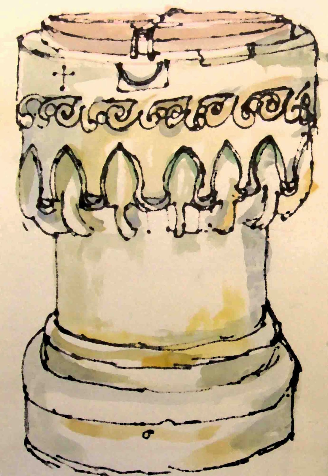 Drawing of the Norman font at Yatesbury, Wiltshire