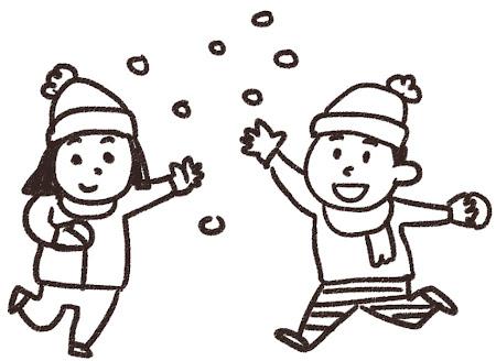 雪合戦のイラスト「雪遊びをしている男の子と女の子」 白黒線画