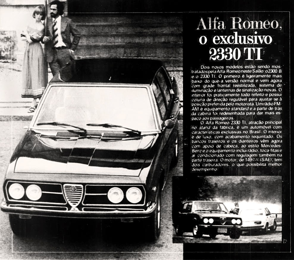 Alfa Romeo.  brazilian advertising cars in the 70. os anos 70. história da década de 70; Brazil in the 70s; propaganda carros anos 70; Oswaldo Hernandez;