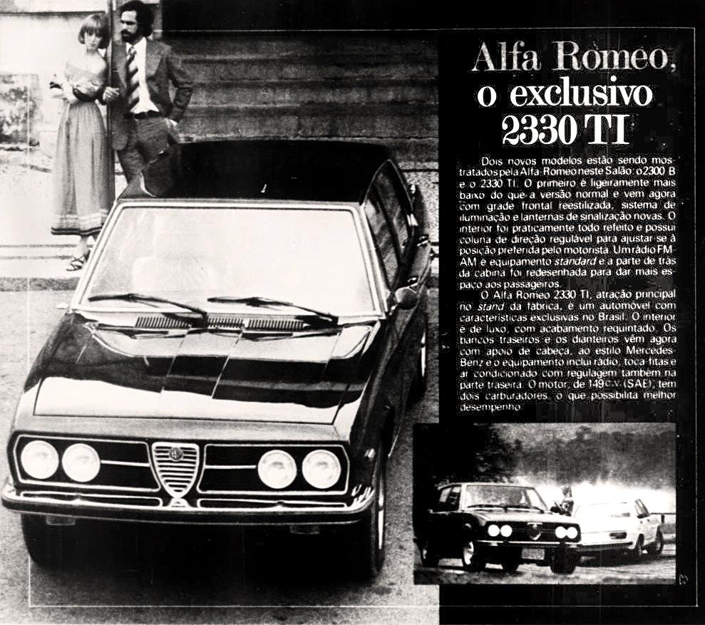 Alfa Romeo.  brazilian advertising cars in the 70. os anos 70. história da década de 70; Brazil in the 70s; propaganda carros anos 70; Oswaldo Hernandez;