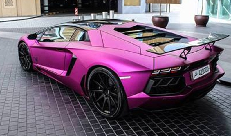 tuned lamborghini aventador in purple
