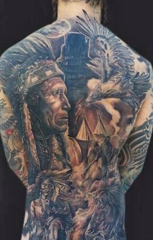 Tatuagens de indios nas costas inteiras