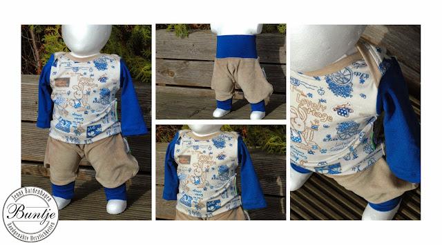 Babykombi Mitwachshose Hose Sarouelhose Pumphose Baby Bündchen Shirt amerikanischer Ausschnitt Geschenk Geburt Taufe Mütze Mädchen Junge blau beige braun Teddys Tiere Buntje nähen Farbenmix Dschinni