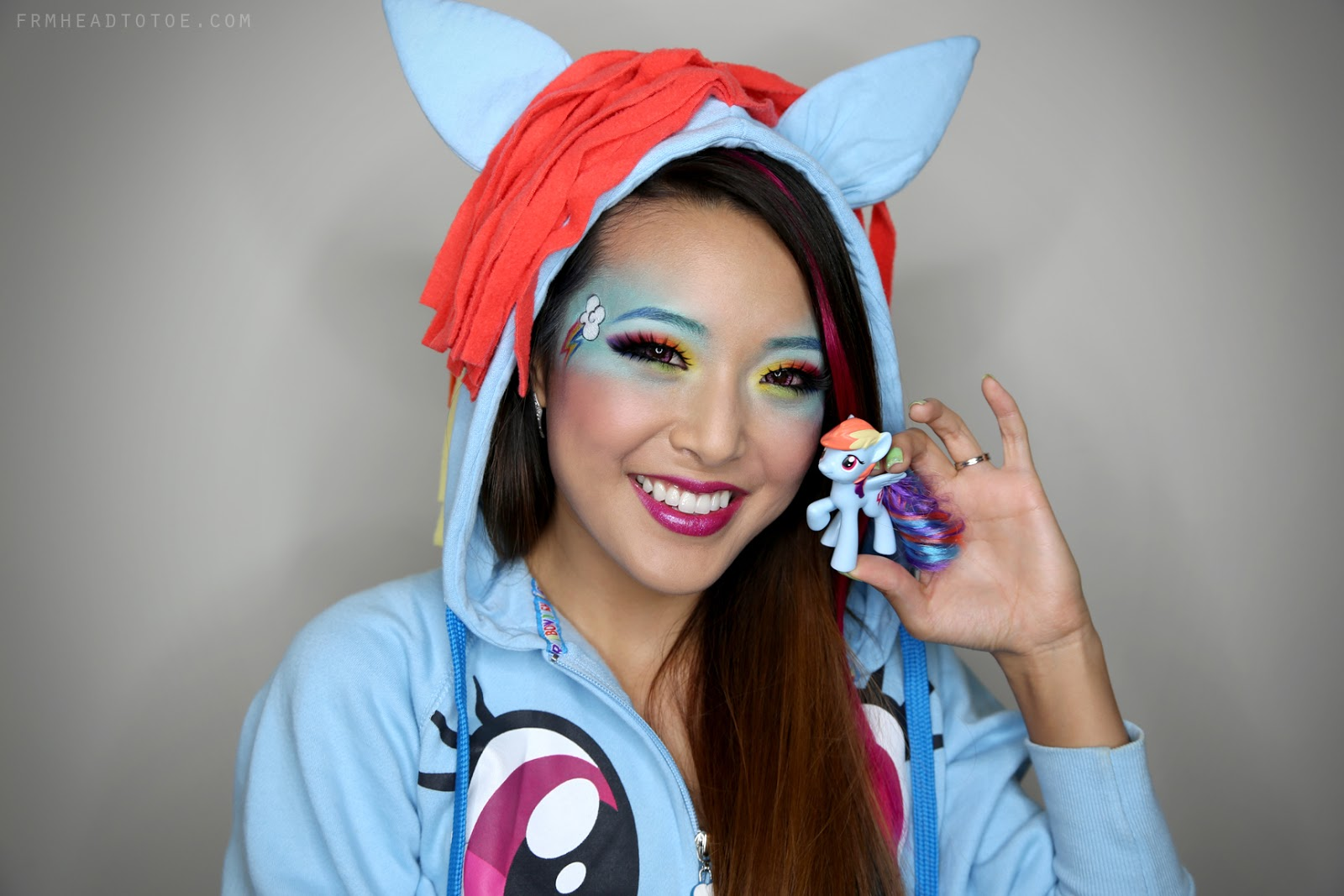 My little ponies quot rainbow dash quot makeup tutorial from head to toe
