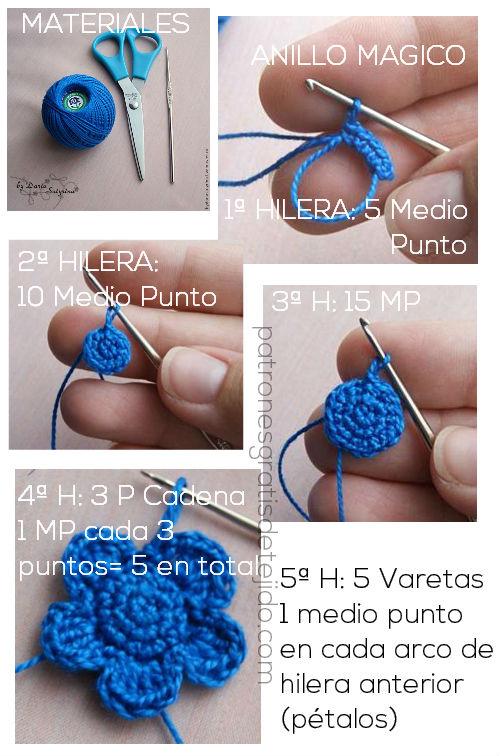 tutorial de flor crochet paso a paso