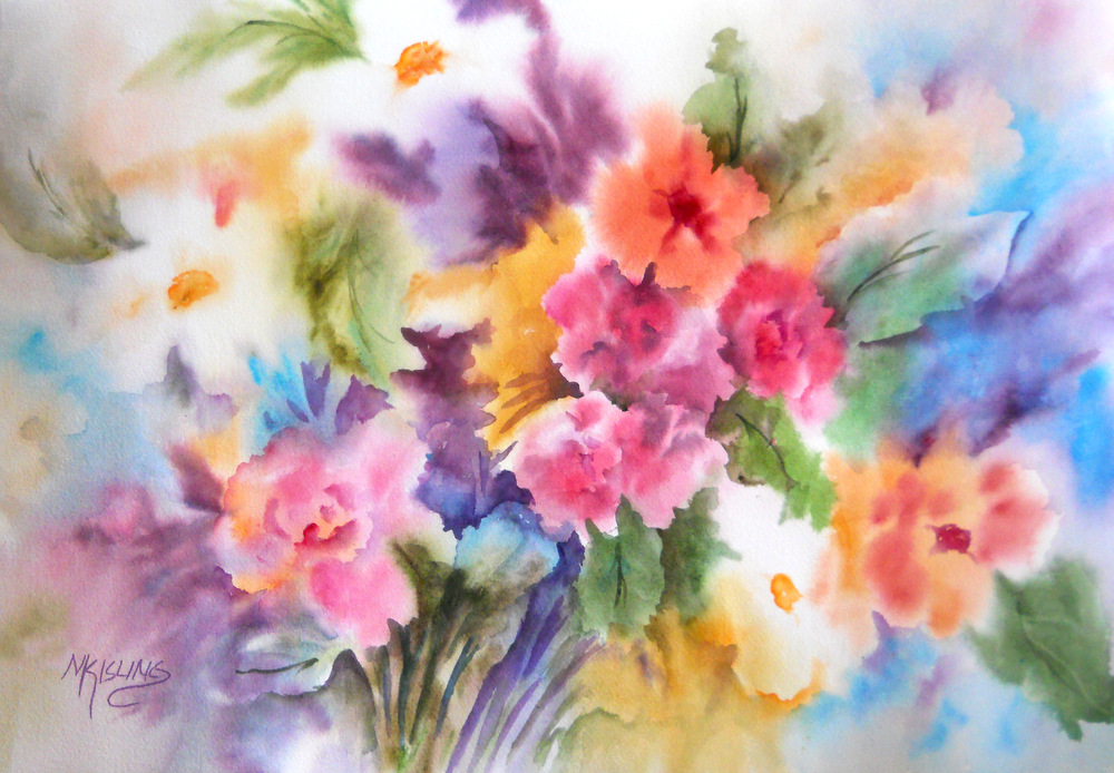 Martha kisling art with heart spring dream floral by for Spring flowers watercolor