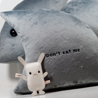 Shark fin plush pillow by Flat Bonnie - don't eat me - back