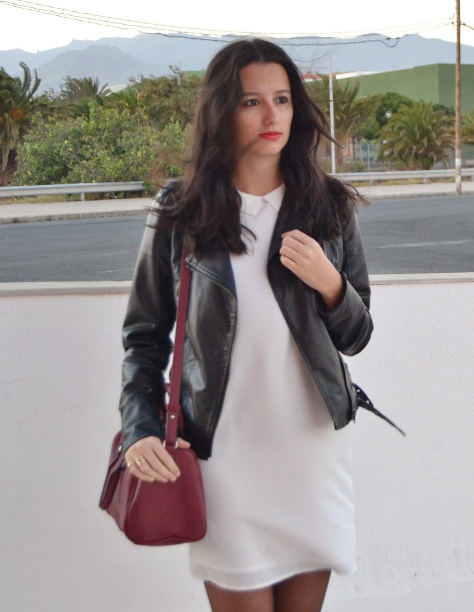 Vestido blanco y chaqueta negra