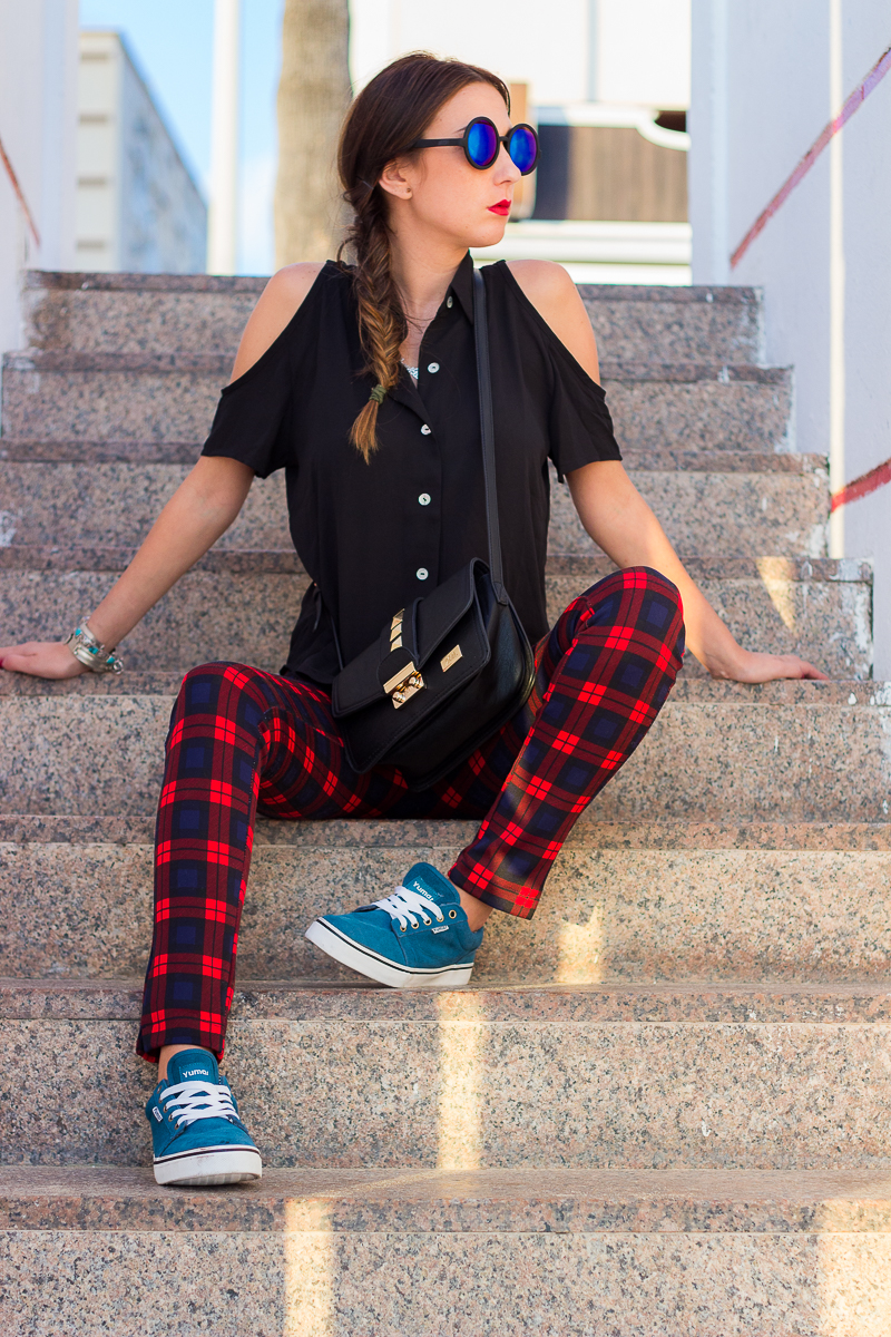 Cut out Shirt pantalón tartan