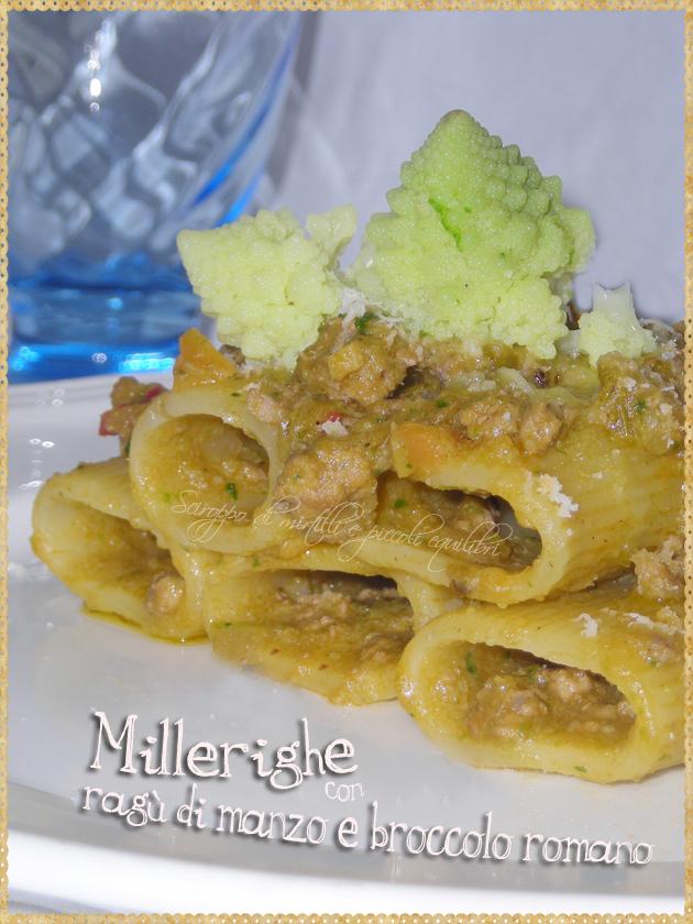 Pasta con ragù di manzo e broccolo romano