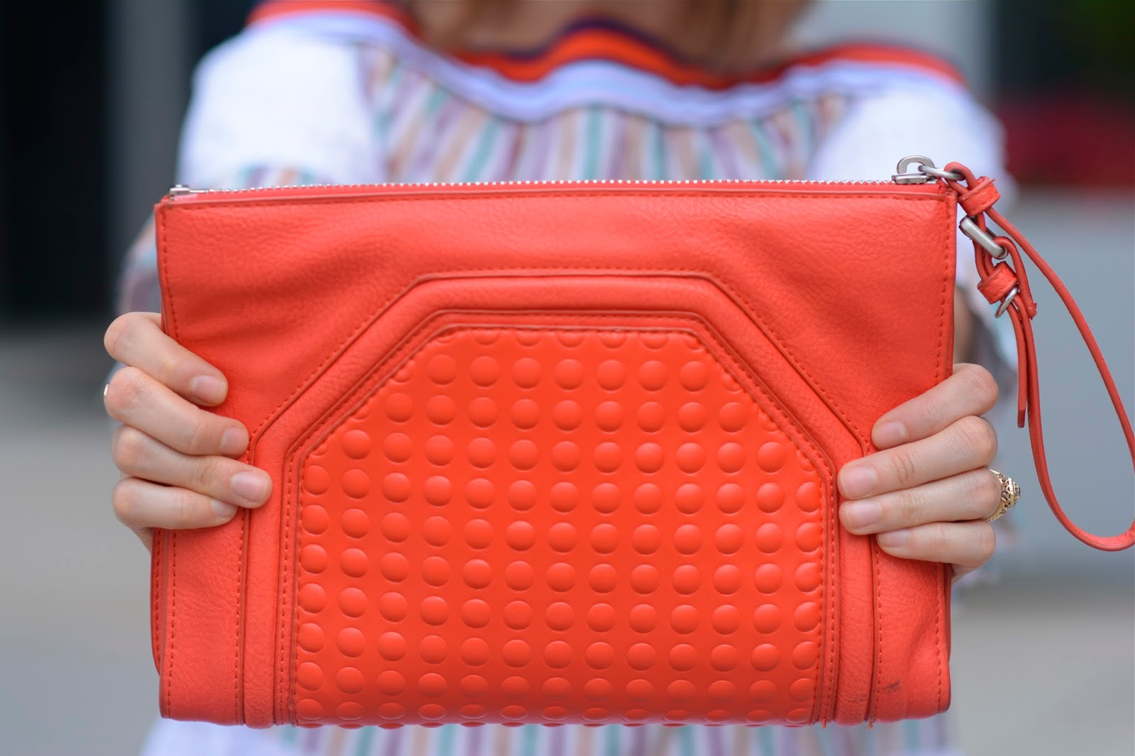 red, textured, zara, bag
