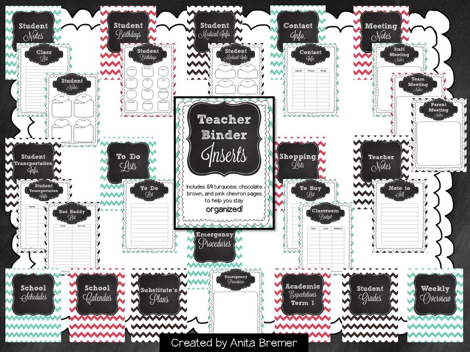 Teacher Binder Inserts