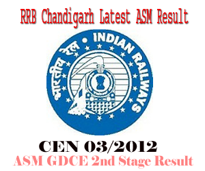 RRB Chandigarh CEN 03/2012 ASM GDCE (NTPC Graduate) Second Stage Examination Result and Aptitude Test Schedule