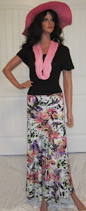 Ladies Abstract Floral Pastel Maxi Skirt in Purples, Peaches, and Corals