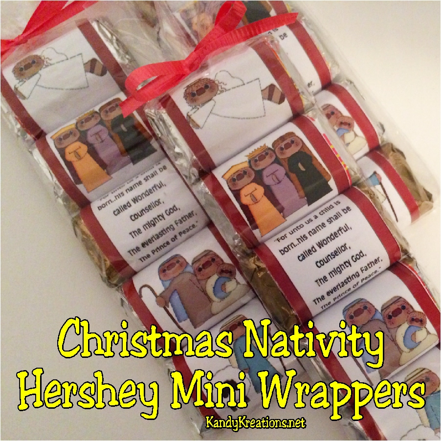 Christmas nativity hershey mini candy bar wrapper printable everyday parties for Candy bar wrapper ideas