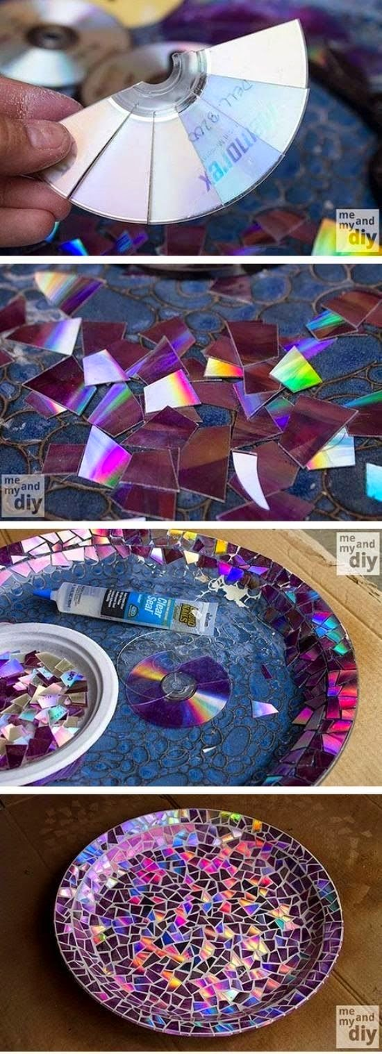 Craft project ideas mosaic tile birdbath using recycled dvds for Mosaic tiles for craft