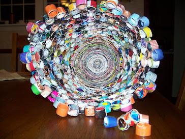 Recycled Magazine Waste Basket
