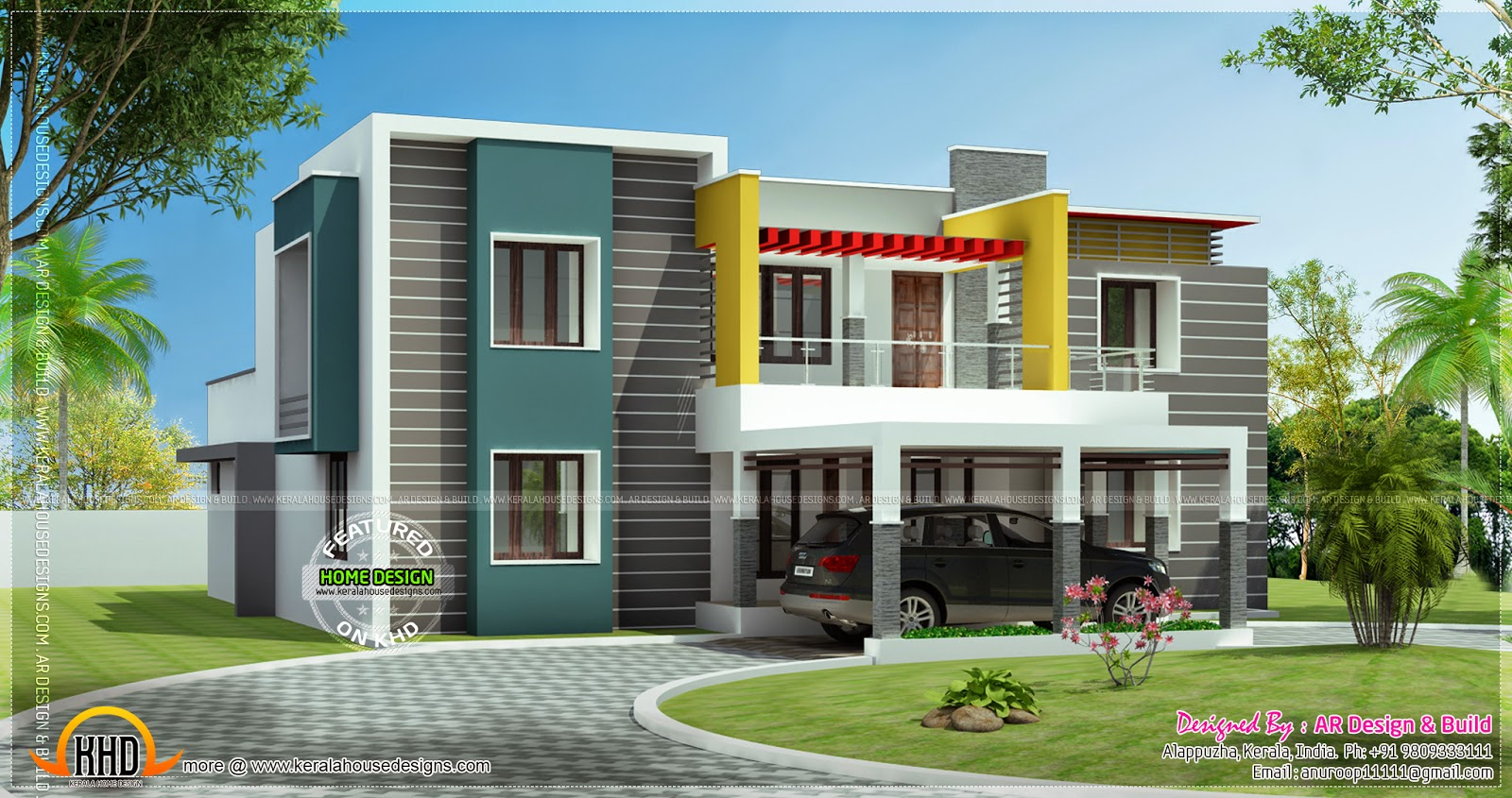 Home Front Elevation Double Floor : July kerala home design and floor plans