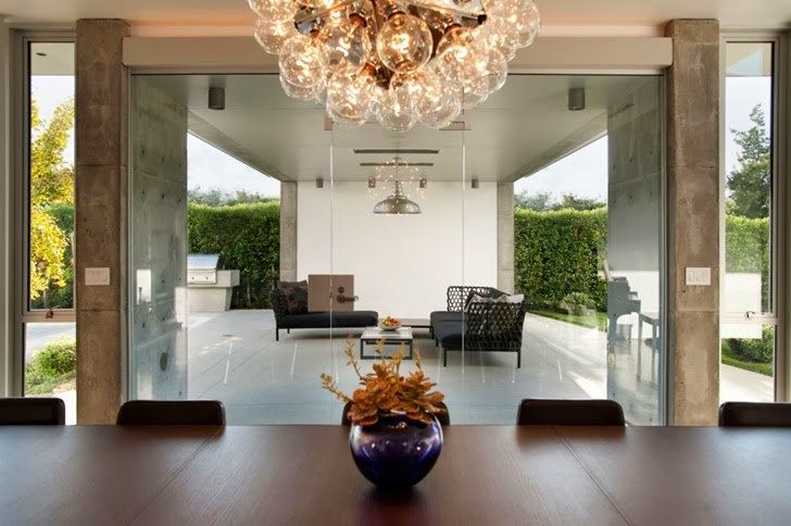Glass wall in the Luxury modern family home in Venice, California