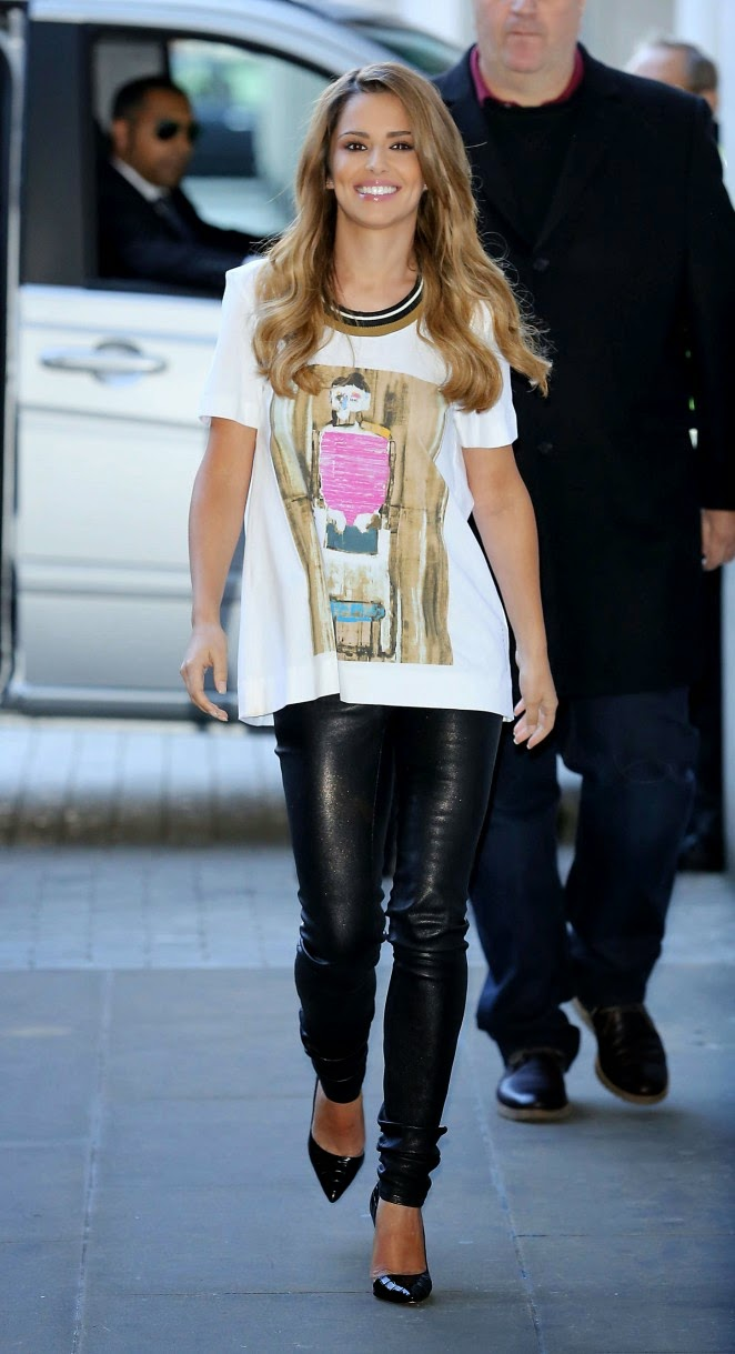 Cheryl Cole arrives in leather trousers and Marni t-shirt at the BBC Radio1 Studios in London
