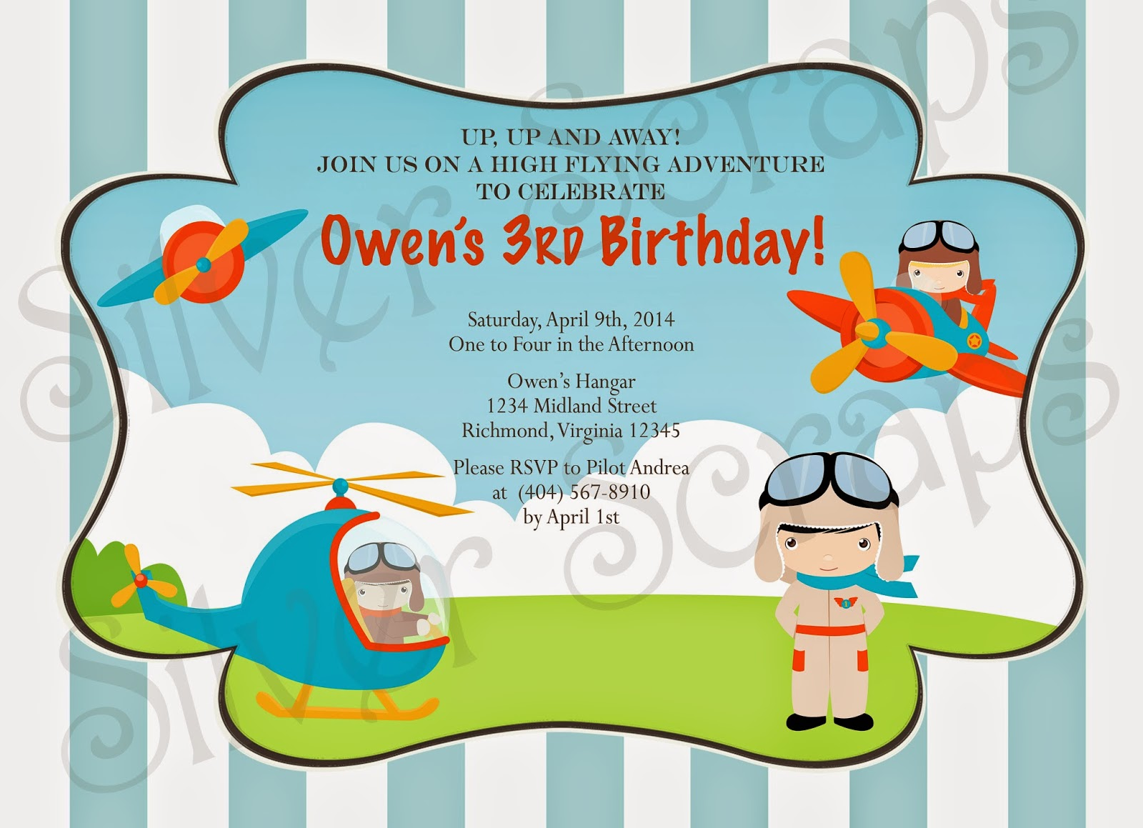 Up, Up, and Away - Custom Digital Airplane Birthday Invitation -Boy Plane Fly Flying Helicopter Pilot Red Blue Yellow - 5 Printable Designs aviator blue chevron red yellow orange helicopter goggles blue stripes