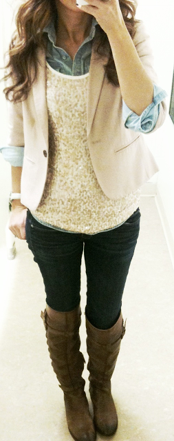 Lace sweater, shirt, blazer, pants and long boots for fall