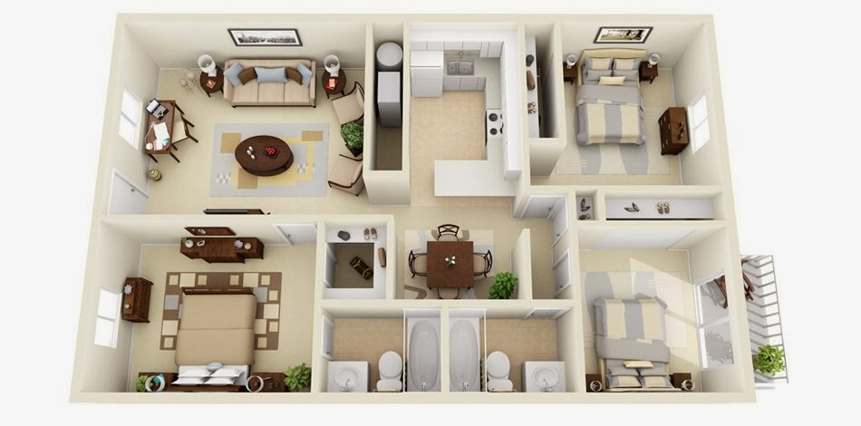 Amazing 3D House Plans With Furniture Details Collection 2