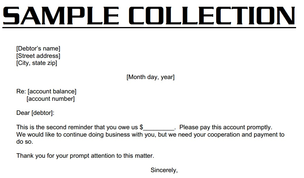 Format of Collection Letter Collection Letter Example