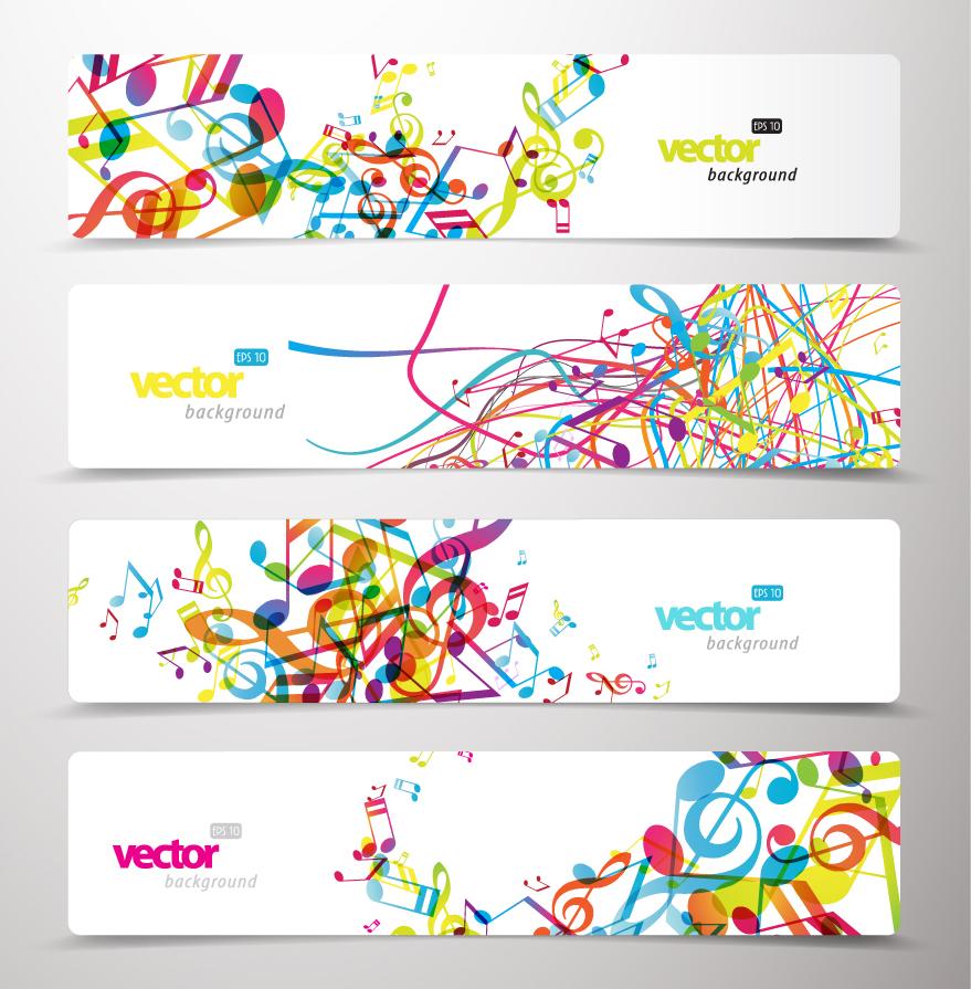 カラフルな音符を散りばめたバナー dynamic patterns musical notes banners イラスト素材