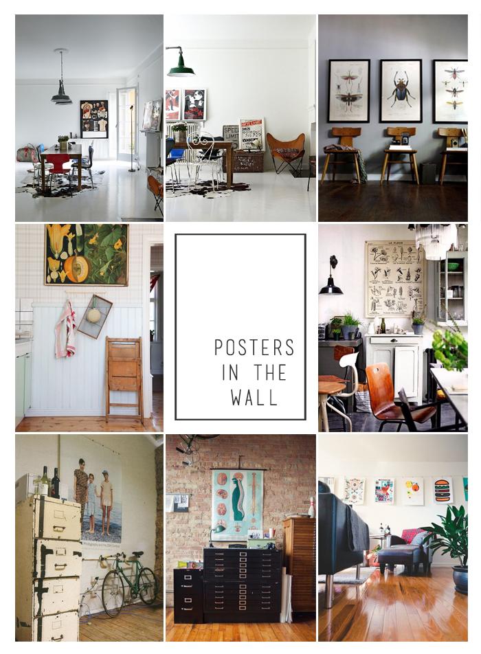 Kolorowe wnętrza z plakatami na ścianie