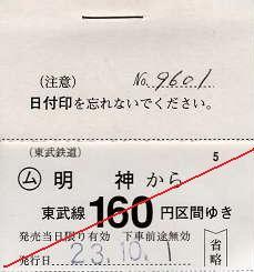 東武鉄道 常備軟券乗車券13 日光線 明神駅