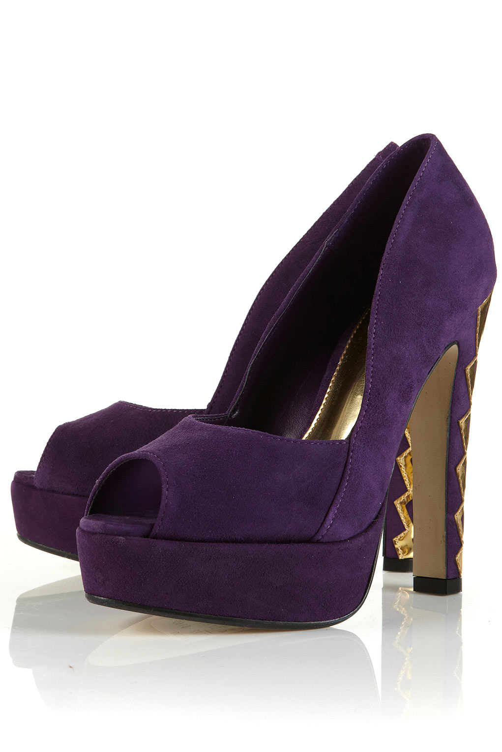 Purple Suede Peep Toe Heels