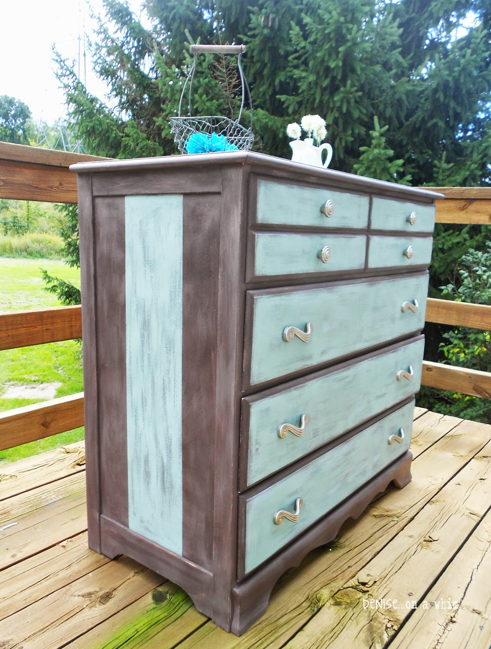 Blue and Brown Dresser Makeover from Denise on a Whim
