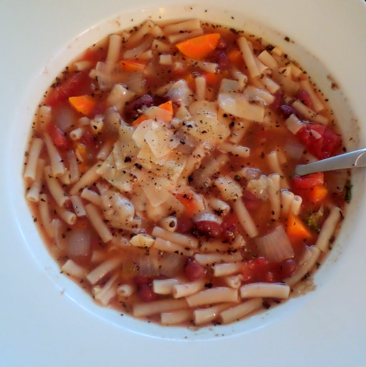 Minestrone Soup:  A simple, vegetarian, Italian style soup made with vegetables, beans, pasta, tomatoes and spices.