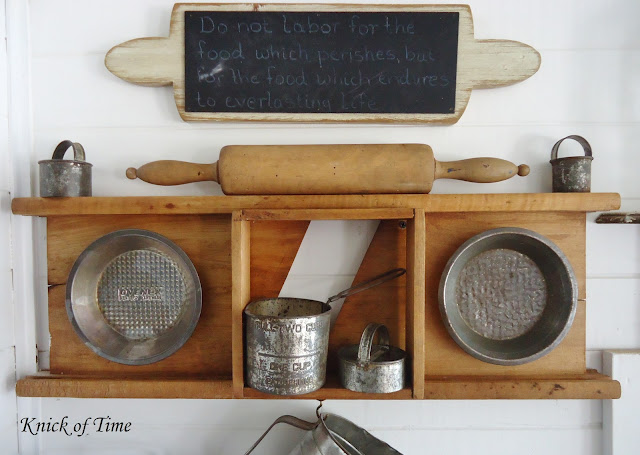Repurposed vintage baking utensils display in farmhouse kitchen - www.KnickofTime.net