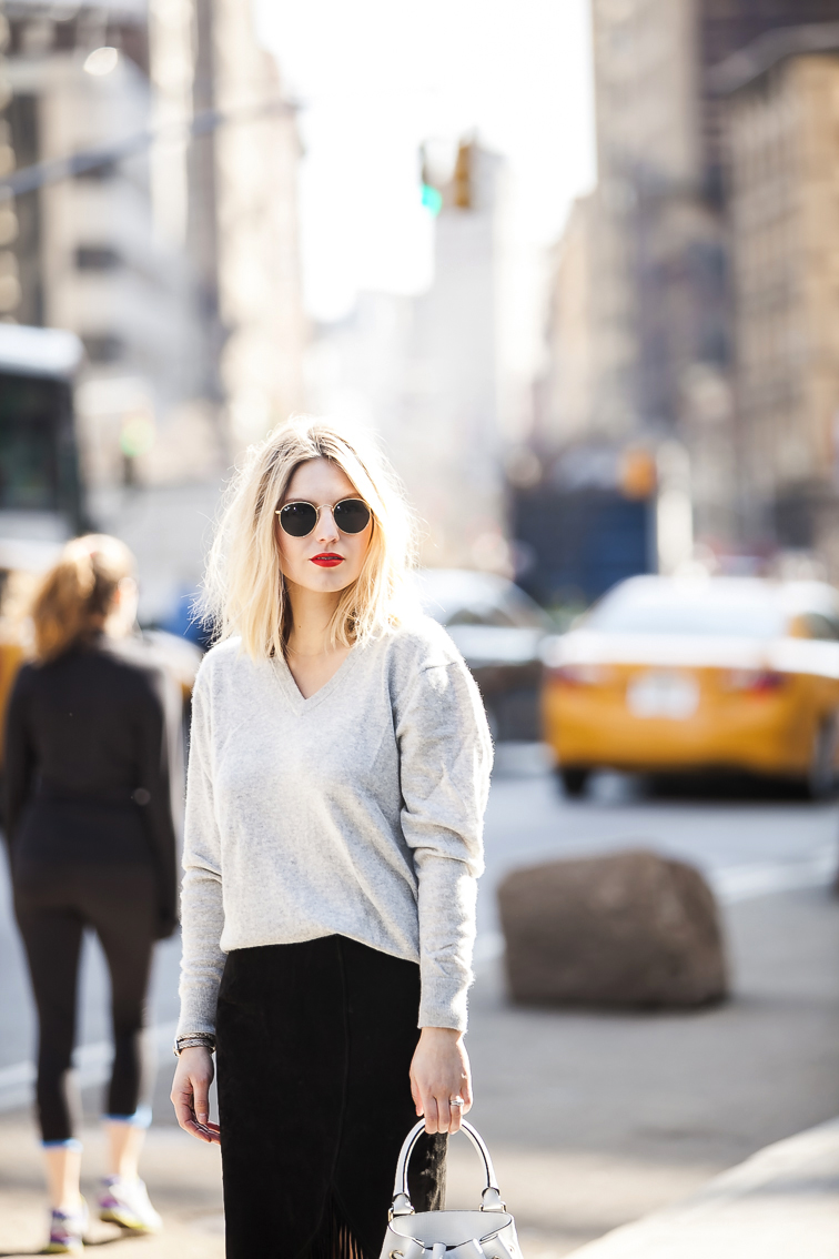 Fashion Over Reason in NYC, Flatiron Building, Ray-Ban round Lennon sunglasses, MAC Lady Danger